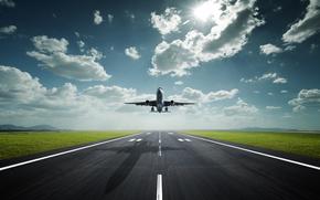 piano, cielo, aeroporto, ombra, traccia, sole