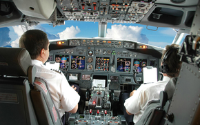 plane, cab, pilots, sky, clouds, приборы