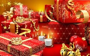 подарки, шарики, свечи, праздник, новый год