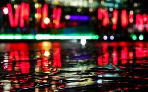 огни, отражение, вода