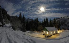 луна, зима, ночь, домик, свет, снег, лес