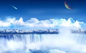 Wasserfall, Gebirge, Collage