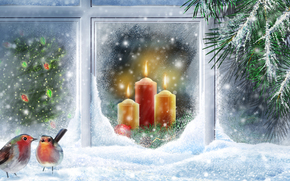 Tree, new year, vector, Candles, Birds, snow