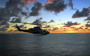 авиация, вертолет, море, солнце, закат