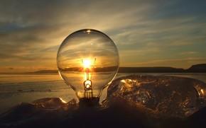 лампочка, солнце, закат