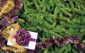 елка, мишура, подарок, праздник, новый год