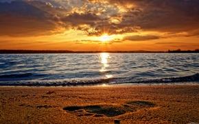 природа,  волны,  море,  песок,  след