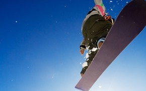 winter, sky, sport, snowboard, guy, jump, Extreme, adrenaline, picture, background, wallpaper