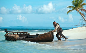 Johnny Depp, Captain Jack Sparrow, coast, boat, Pirates of the Caribbean: On Stranger Tides