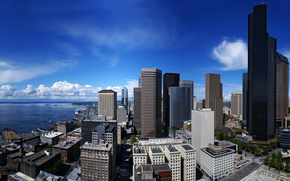 город, панорама, сша, небоскрёб, побережье