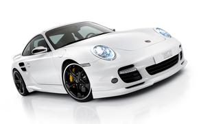 порше, автомобиль, белый