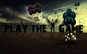 воздушные шары, игральные кости, небо