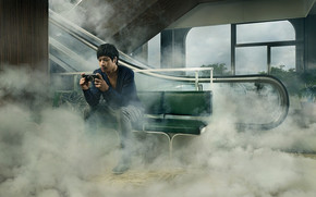креатив, парень, туман, эскалатор