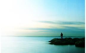 одиночество, человек, камни