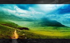 landscape, landscape, style, Mountains, clouds, nature, grass, greens