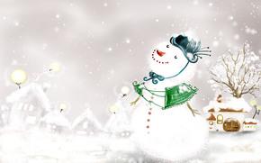 новый год, снеговик, снег