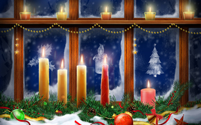 Ano Novo, janela, Velas
