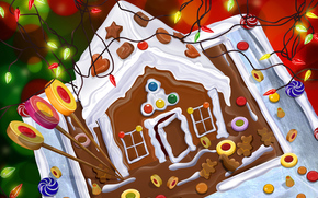 new year, гирлянда, hut, cake, Sweets