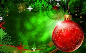 新年, 球, 绿色, 红色