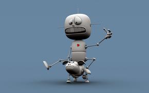 робот, голубой, верхом, катается