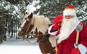 дед мороз, зима, праздник, новый год, лошадь, великий устюг