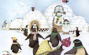snowman, Penguins, winter, праздник, детство
