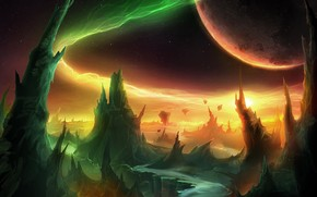 Mondi, pianeta, fantasia, Montagne, notte