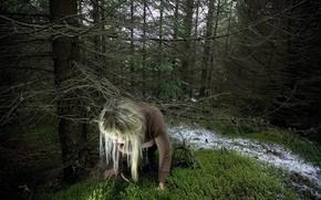 ragazza, perdersi, alberi, foresta
