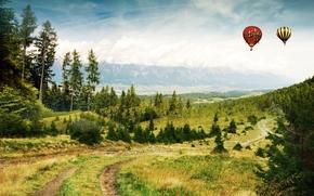 воздушные шары, дорога, лес, горы, природа