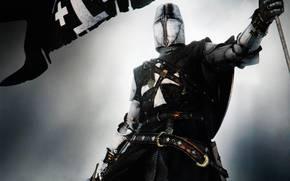 knight, flag, crusader, armor