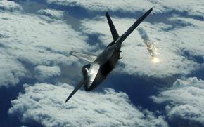 самолет, ракеты, небо, земля, высота