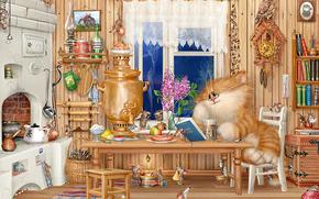 Koshak, room, things, самовар, мыши, village, Figure, алексей долотов
