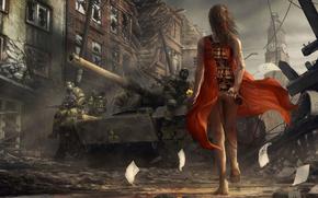 ragazza, vestito rosso, infezione, virus, soldati, serbatoio
