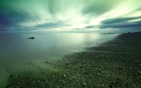 берег, камни, вода, облака