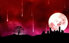 вектор, город, луна