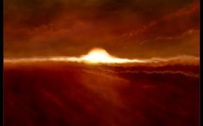 explosin, luz, las nubes