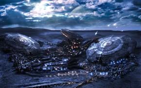 planet, UFO, fantasy