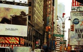 New York, broadway, strada, pubblicit