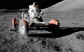 space, astronaut, moon, lunar vehicle, wallpaper