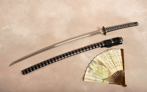 катана, меч, ножны, веер