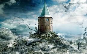 画, 幻想, 城堡, 房子