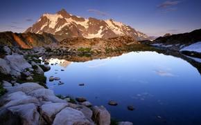 горы, озеро, камни