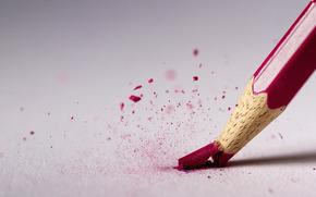 красный, карандаш, сломался, стержень, макро