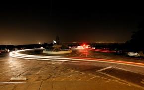 road, traces, night, auto
