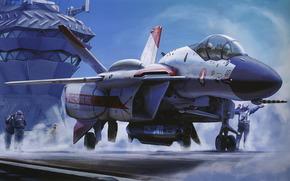 plane, deck, aircraft carrier, missile, cabin, Pilots