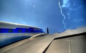 самолет, крыло, ракета, небо