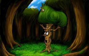 albero, scoiattolo, disegno, storia