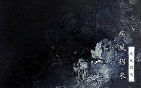 иероглифы, texture, black background
