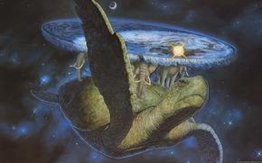 Lumea plat Terry Pratchett, broasc estoas, Elefanii, spaiu, fantezie