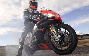 motorcycle, bike, пилот, smoke, route